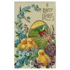 Gold gilt Gel Easter Chicks vintage Postcard