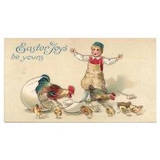 Easter Joys be Yours Boy in bibs  Rooster herding chicks