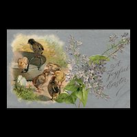 Early Nash A Joyful Easter Chicks Vintage Postcard with lilacs
