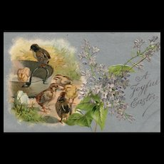 Early Nash A Joyful Easter Chicks Vintage Postcard with lilacs