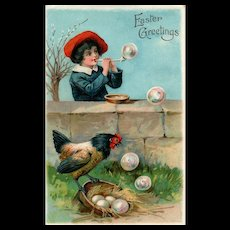 Vintage EAS series 5936 Easter postcard of young boy blowing bubbles with a hen