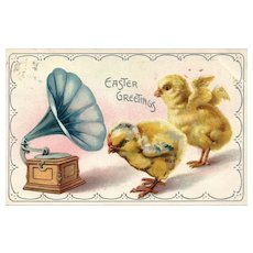 Raphael Tuck Easter Series 105 chicks listening to music from a Victrola vintage postcard