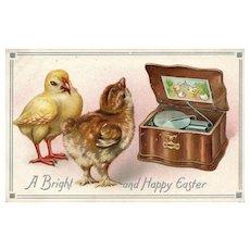 Raphael Tuck Easter Series 105 Chicks listening to music box vintage postcard
