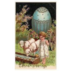 PFB 1909 Easter Greetings Girl with her Lambs Egg Wagon Chicks