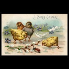 Vintage A Happy Easter postcard with 4 baby chicks