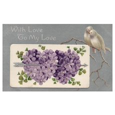 Spring is in the Air Lilac Hearts twitterpated Dove Birds Vintage postcard