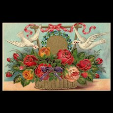 AMB Beautiful Birthday Greeting Floral with White Doves Red and Yellow Roses