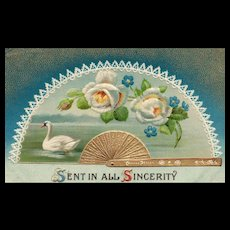 Sent it all Sincerity - Floral with a White Swan vintage postcard greeting