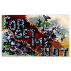 1909 Large Letter Forget Me Not Floral Vintage Postcard