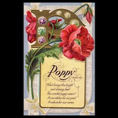 Nash  Motto Series No 6 Poppy Flower Consolation Scarlet Vintage Postcard