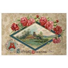 1910 John Winsch W/ Catherine Klein Silk Floral Carnation scenic vintage postcard