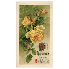 1910 John Winsch Catherine Klein Yellow Roses Vintage Postcard Birthday greeting