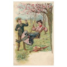 Think Spring!   Man and woman enjoying Spring day by the swing Vintage Postcard