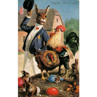 Vintage Easter German Novelty Art Series 655 Bunny Postcard