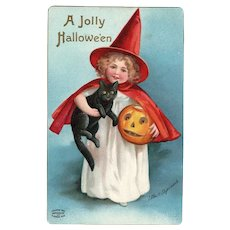Artist Signed Ellen Clapsaddle Girl Witch black Cat vintage Halloween Postcard