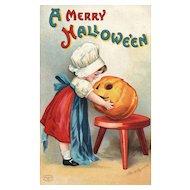 A Merry Halloween Signed Ellen Clapsaddle Vintage Postcard