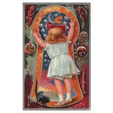 Nash Halloween Keyhole Series No 3 Little Girl Black Cat Witch Vintage Postcard