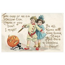HBG Artist Signed Boy Girl go after a Pumpkin Head  Halloween Postcard