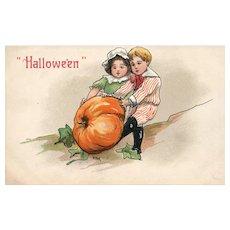 Halloween HBG Signed Boy Girl with large Pumpkin #2214 Germany Vintage Postcard