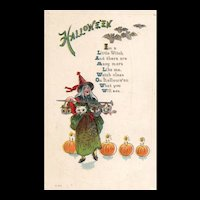 Vintage Halloween postcard Witch holds a cane with heads of animals