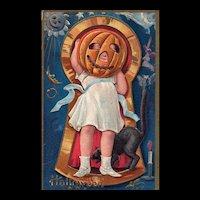 Nash Halloween Keyhole Series No 1 vintage Postcard Girl Pumpkin head and Black Cat