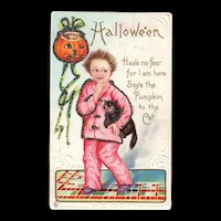 Stretcher Vintage Halloween Series 226 E Boy with cat Have no Fear