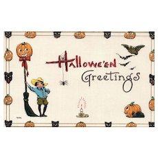 S Bergman Halloween Greetings Vintage Postcard Series 9076 1 of 3