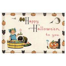 2nd of 3 Sam Bergman Vintage Halloween Postcard Series 0976 Apple bobbing