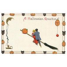 3rd of 3 vintage Halloween postcards by Sam Bergman Series 9076 Romantic couple on broom