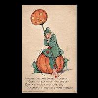 Scarce Raphael Tuck Samuel Schmucker vintage Halloween postcard Series No 100