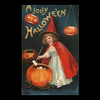 Signed Ellen Clapsaddle Halloween 1910 Little Red Witch Jack O Lanterns Postcard