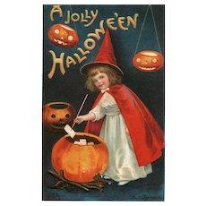 Signed Ellen Clapsaddle Halloween 1910 Little Red Witch Jack O Lanterns Postcard