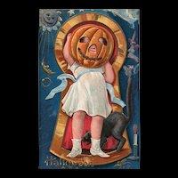 Nash Jack O Lantern Head Keyhole Series No 3 Vintage Halloween Postcard