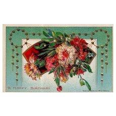 1912 Heymann Beautiful Floral Vintage Birthday postcard Series 7101