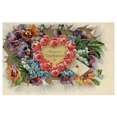 Heartiest Congratulations! SL& Co Vintage Floral postcard Mixed flowers
