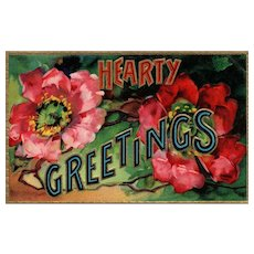 1910 Mothers Day Flowers! Hearty Greeting Red Floral Flowers Greeting Postcard Series 1440