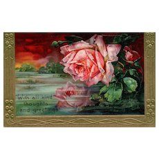 Beautiful Pink Red Rose high gloss vintage postcard early 1900's