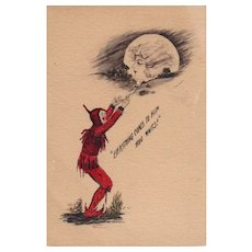 Artist Signed Cobb Shinn Woman in the Moonlite Fantasy  Devil Postcard