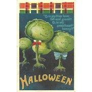 Artist Signed Ellen Clapsaddle Vintage Halloween Postcard Vegetable Cabbage heads