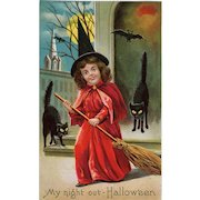 Adorable Little Red Witch Halloween Vintage Postcard Black Cats Full Moon