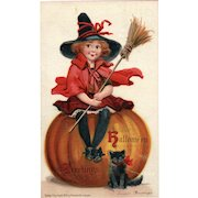 Artist Signed Frances Brundage 1910 Halloween Series No. 120 Vintage Postcard Little Girl Witch Black Cat Pumpkin