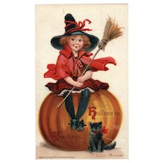 Artist Signed Frances Brundage 1910 Halloween Series No. 120 Vintage Postcard Little Girl Witch Black Cat Pumpkin