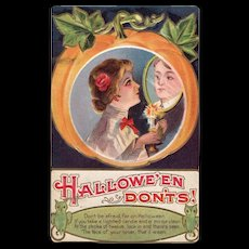 Vintage Halloween Don'ts Lovers Postcard