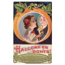 Vintage Halloween Don'ts Lovers Postcard