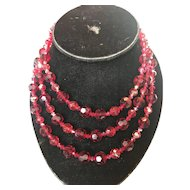 Stunning 3 Strand Aurora Borealis Ruby Red Necklace