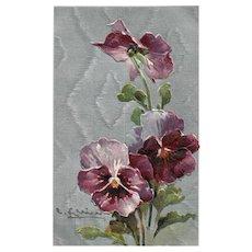 1911 Catherine Klein Artist Signed Pansies Series 7348 Vintage Postcard