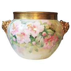 Rare Large Jean Pouyat Hand Painted Limoges Jardiniere Pink Flowers Vase J P L France  Circa 1890-1932