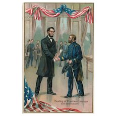 Raphael Tuck President Abraham Lincoln shakes hands with General Grant Series 155 postcard