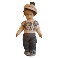 "Adorable 17"" Lenci 300 Felt Doll from 1920's vintage collectible"