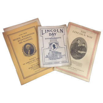 Lot of 3 1908 Abraham Lincoln Ephemera & George Washington Bicentennial Commission Booklets